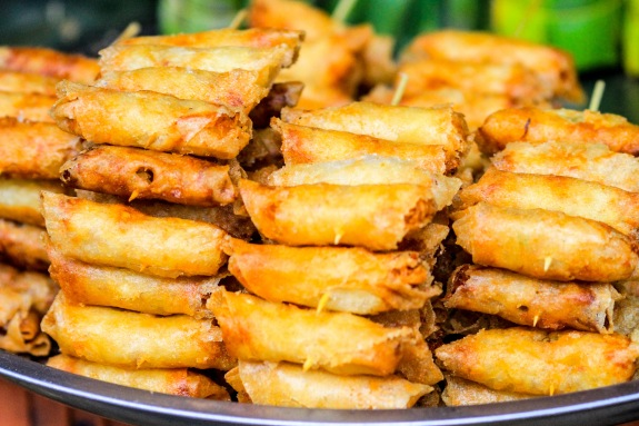 At the market - crispy fried spring rolls