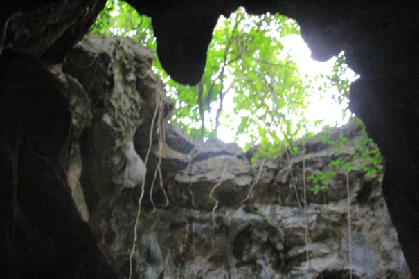 Opening in the cavern where bodies were dropped during the Khmer Rouge rein.