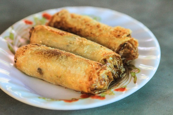 Fried spring rolls ready to  eat.