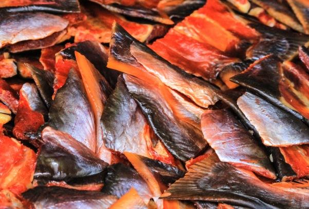 Drying fish.