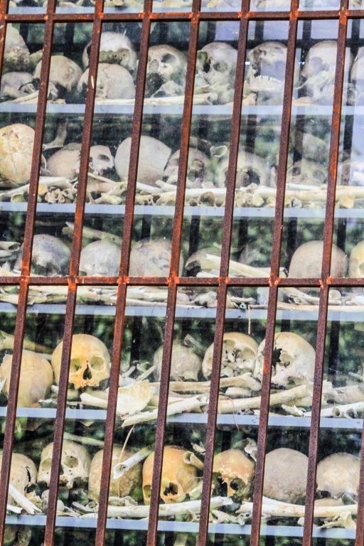 Skulls and bones inside the memorial.