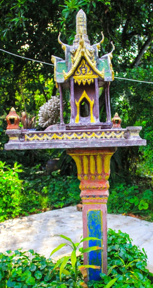This is called a spiritual house that every Buddhist home has. I liked this one as most I saw were very ornate with a lot more gold.