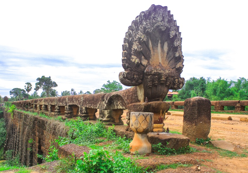 This is an 800 year old bridge. The Khmer Rouge tried to blow it up but didn't succeed.
