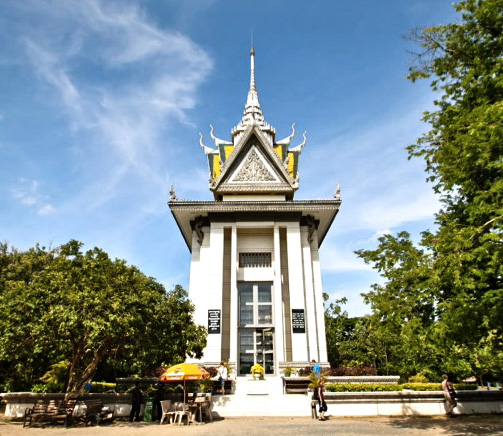 Choeung Ek Monument - it resembles a Buddhist stupa. The stupa has acrylic glass sides and is filled with more than 5,000 skulls.