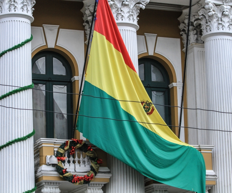 The Bolivian Flag on the Presidential Palace.