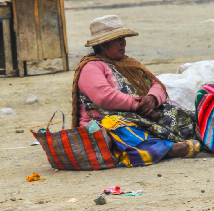 Sitting seller.