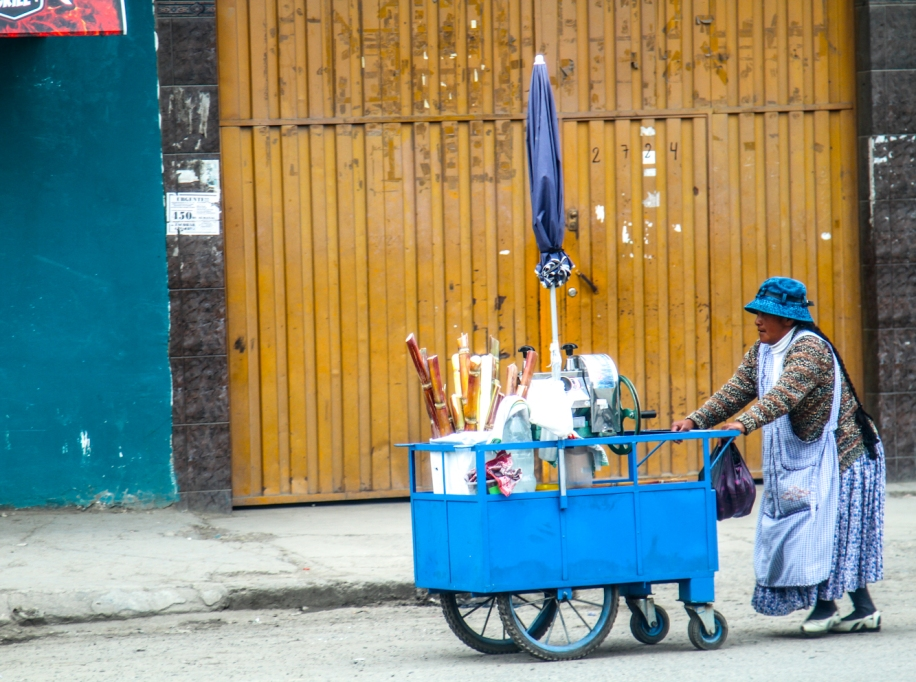 Lady pushing her cart of goods.