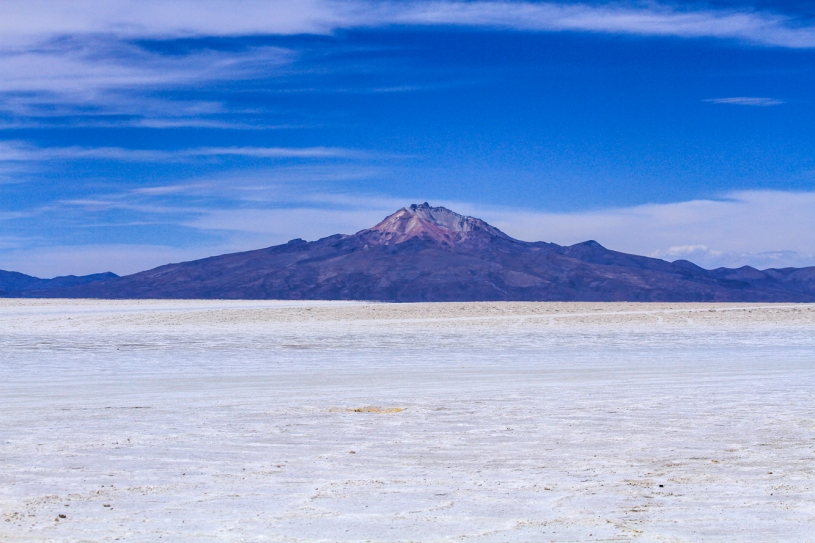 Salt Flats with mountain in the background