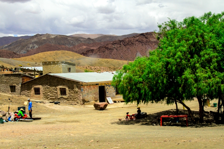 As we descended from the mountains, we saw adobe houses, trees and gardens.