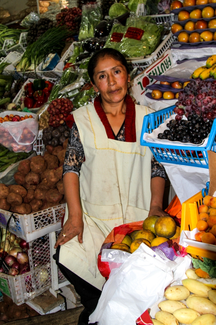 Vendor and her wares.