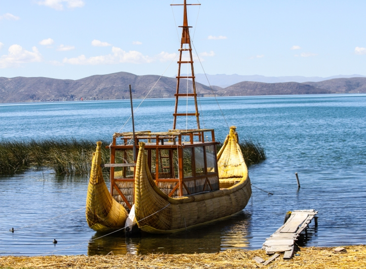 Reed boat on Lake Titicaca at the home of Paulino Esteban.
