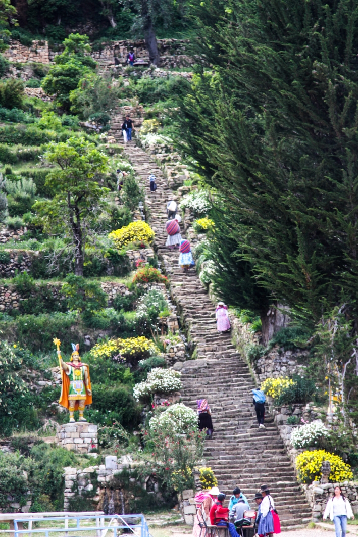 Steps to the village of Yumani and the natural springs of eternal youth (so say the Incans).